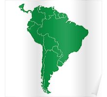 Blank green South America map Poster