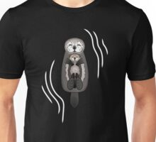 Mother and Pup Sea Otters - Mom Holding Baby Otter Unisex T-Shirt