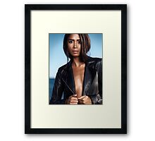 Sexy young woman in black leather jacket on shiny bare skin art photo print Framed Print
