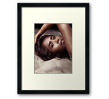 Artistic sensual portrait of young woman lying on sand art photo print Framed Print