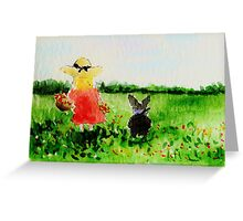 Picking Wild Flowers With Scottie Dog Greeting Card