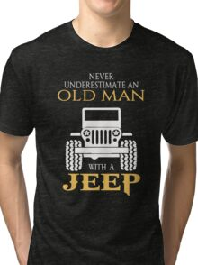 An old man with a jeep T-shirt Tri-blend T-Shirt