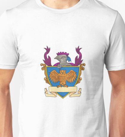 Owl Wings Spread Knight Helmet Drawing Unisex T-Shirt