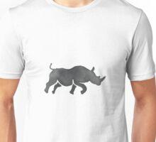 Rhinoceros Silhouette Running Watercolor Unisex T-Shirt