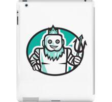Robotic Poseidon Holding Trident Oval Retro iPad Case/Skin