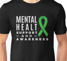 Mental Health Support and Awareness Green Ribbon Unisex T-Shirt