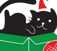 Merry Christmas - Cute Cat Ball Yarn Holiday  Sticker