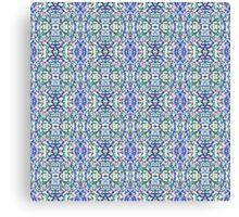 Trippy Mostly Blue and Green Digital Pattern on White Canvas Print