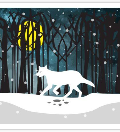 White Wolf at midnight Sticker