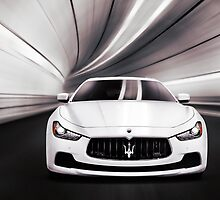 Maserati Ghibli S Q4 luxury car in a tunnel art photo print by ArtNudePhotos