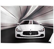 Maserati Ghibli S Q4 luxury car in a tunnel art photo print Poster