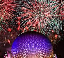Spaceship Earth Fireworks by zmayer