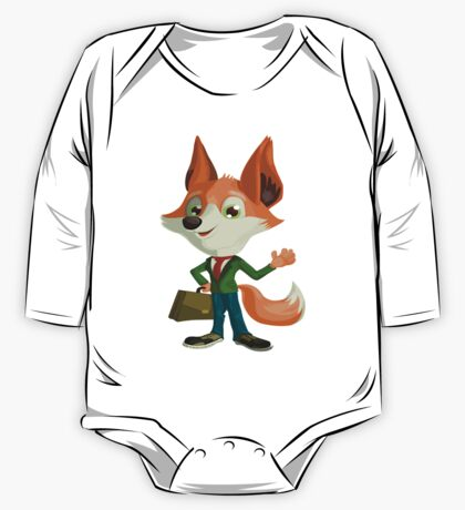 Funny Mr. Fox Vector Graphic Animinated Print One Piece - Long Sleeve