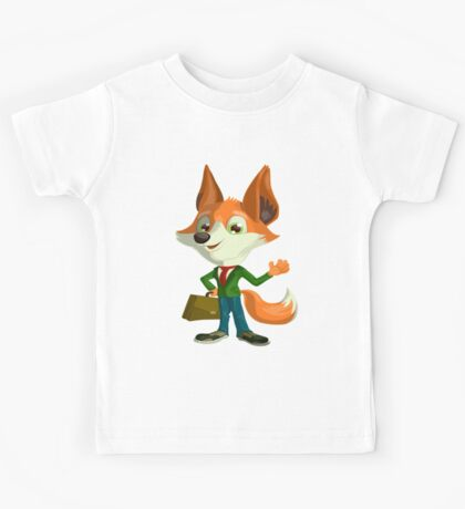 Funny Mr. Fox Vector Graphic Animinated Print Kids Tee