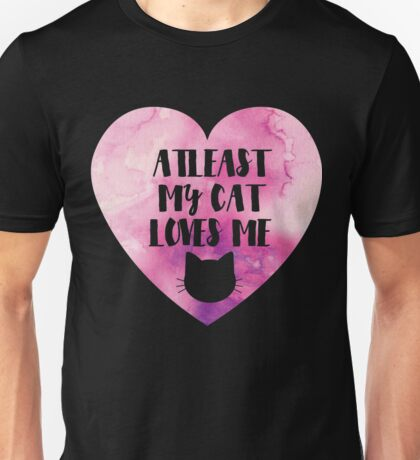 Funny Cat Love Valentines Day   Pink Watercolour Unisex T-Shirt