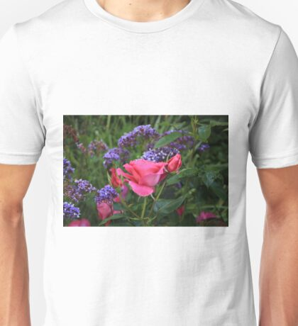 Pink rose and statice in garden Unisex T-Shirt