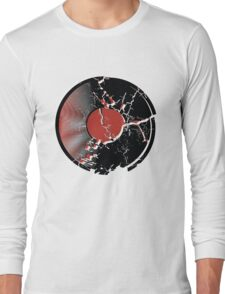 Music Vinyl Record Explosion Comic Style Long Sleeve T-Shirt