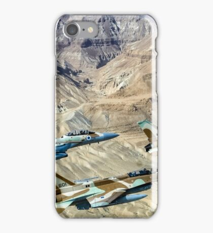 Israeli Air Force fighter jets flying over the Judea mountains Dead sea area iPhone Case/Skin