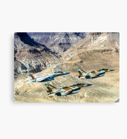 Israeli Air Force fighter jets flying over the Judea mountains Dead sea area Canvas Print