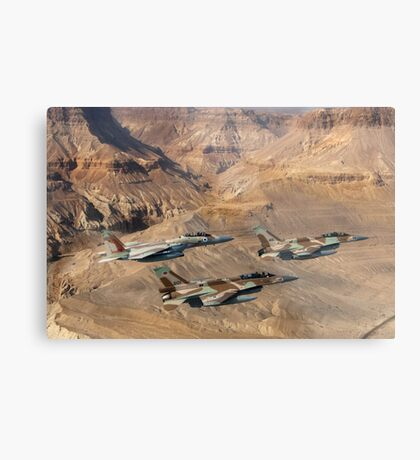Israeli Air Force fighter jets flying over the Judea mountains Dead sea area Metal Print