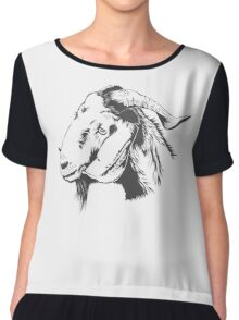 fUNNY Lovely Cute Goat Sketched Chiffon Top