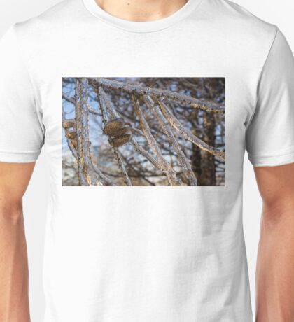 Christmas Decorations by Mother Nature - Three Pine Cones Encapsulated in Ice Unisex T-Shirt