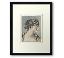 Bust of a young woman, Louis Marin Bonnet, after François Boucher Framed Print