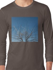 Christmas Decorations by Mother Nature - Brilliant Blue and White Glow in the Sky Long Sleeve T-Shirt