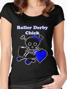 Roller Derby Chick (Blue) Women's Fitted Scoop T-Shirt