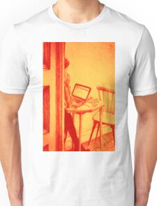 Drawing of woman working on a laptop in a cafe. llustration Unisex T-Shirt