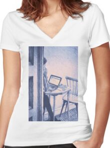 Drawing of woman working on a laptop in a cafe. Illustration  Women's Fitted V-Neck T-Shirt