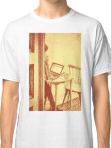 Drawing of woman working on a laptop in a cafe. Illustration  Classic T-Shirt