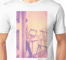 Drawing of woman working on a laptop in a cafe. Illustration  Unisex T-Shirt