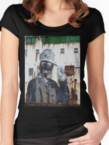 Gangster in a ski mask Criminal Graffiti photograph Women's Fitted Scoop T-Shirt
