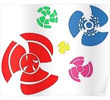 Pinwheel whirligigs Spoked wheel coloured Poster