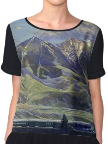 Vintage Montana Landscape Travel by Train Chiffon Top