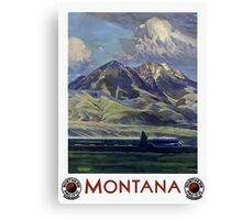Vintage Montana Landscape Travel by Train Canvas Print