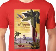 Vintage Los Angeles California Airline Travel Poster Unisex T-Shirt