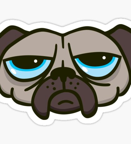 Unhappy Pug Sticker