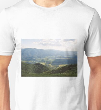 The Carpathian landscape with a view of the valley Unisex T-Shirt
