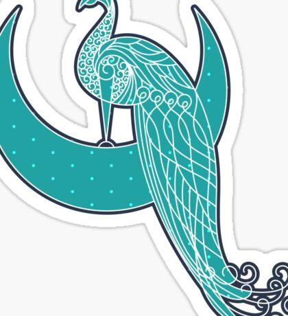 Peafowl On The Moon Sticker