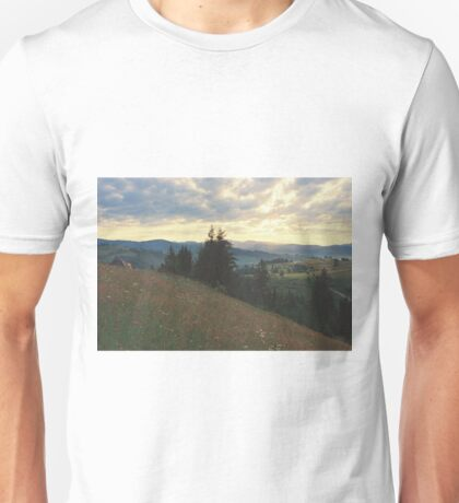 sunrise in Carpathian mountains Unisex T-Shirt