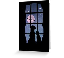 Holiday Cute Dog and Cat in Window Watching Santa Greeting Card