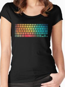 Rainbow color pattern keyboard Women's Fitted Scoop T-Shirt