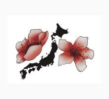 Carte du Japon et fleurs de cerisier, fond blanc Kids Tee