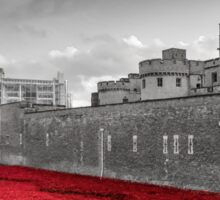 Tower Of London Poppies (Red on Black & White) Sticker
