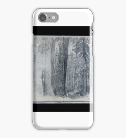 Camp A, Log Cabin in Woods (from Sketchbook X), William Trost Richards iPhone Case/Skin