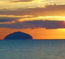 Sunset over Ailsa Craig Sticker