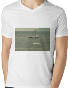 Ships passing by at calm sea Mens V-Neck T-Shirt