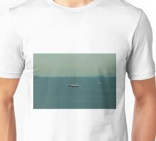 Seagull flies next to a ship Unisex T-Shirt